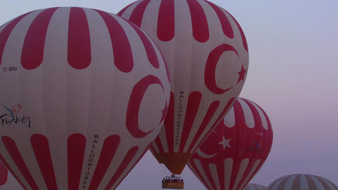 The Turkish flag is displayed on several hot air b Stock Video Footage