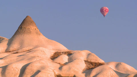 A hot air balloon with the Turkish flag flies over Footage