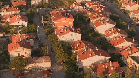 An aerial perspective over a neighborhood Stock Video Footage