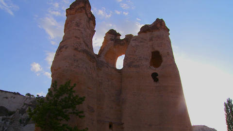 Pan across bizarre geological formations at Cappad Stock Video Footage