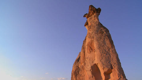 Bizarre geological formations looks like a cowboy Stock Video Footage