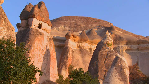 Bizarre geological formations at Cappadocia, Turke Stock Video Footage