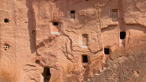 Ancient Christian Tombs And Carvings On A Cliff Fa stock footage