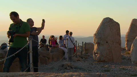 Tourists take photos of the great archeological ru Stock Video Footage