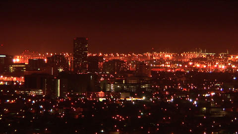 A large city is illuminated at night Stock Video Footage