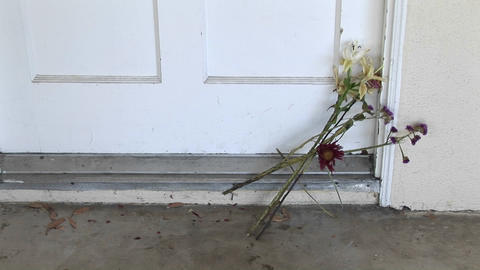 Flowers are left on a doorstep Stock Video Footage
