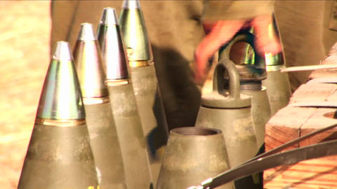 Israeli soldiers prepare and test shells during the war with Lebanon Footage