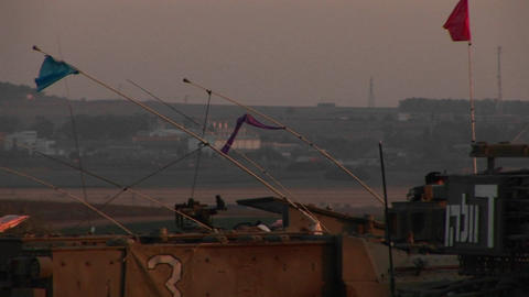 An Israeli tank waits at the border of Gaza and Israel Stock Video Footage