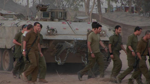 Israeli soldiers arrive for duty in a border region Footage