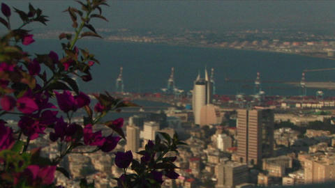 Long shot of Haifa, Israel with the port in the distance Footage