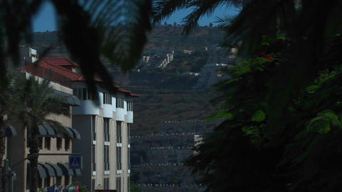 An apartment building and hillside are visible through trees in Haifa, Israel Footage