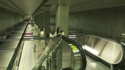 Time lapse of a subway and escalator Stock Video Footage