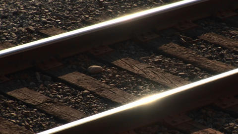 Railroad tracks shine at day Stock Video Footage