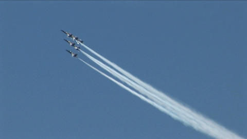 Six Blue Angels jets fly in formation Stock Video Footage