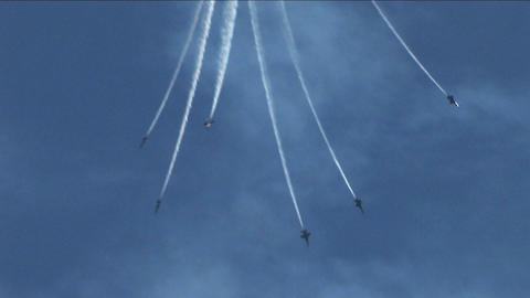 Six Blue Angels jets fly downward and out of formation Stock Video Footage