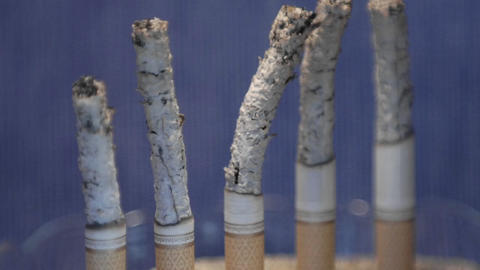 A time lapse of cigarettes burning into ash Footage