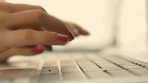 hands of woman on a laptop keyboard Footage