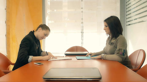 businesswomen meeting: agreement sign, document sign Footage