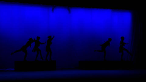 Silhouette People Dancing in Stage Footage