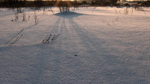 Shadows on the snow on sunset. Time Lapse, Russia Footage