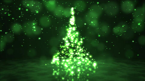 Sparkling Rotating Christmas Tree Animation - Loop Green CG動画素材