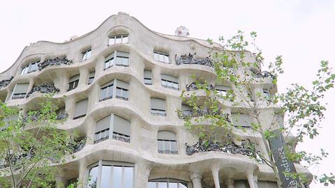 Barcelona, Spain Casa Mila La Pedrera facade by Gaudi Footage