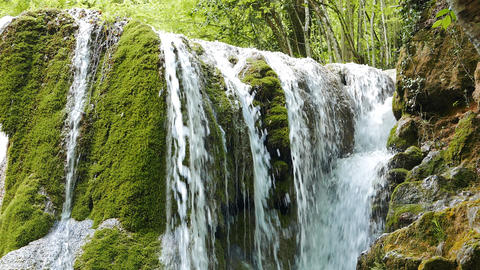 A new view of the waterfall Silver stream. Crimea Footage