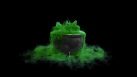 Cauldron witch with green liquid with an alpha channel Footage