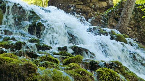 The source of the Yusupov lake. Spring. Sary-Uzen. Mountain Crimea Footage