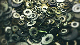 Variety Of Metal. Old Used Fastening Washers Live Action
