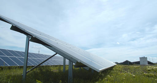 Beautiful nature around a solar panel at the solar power station, 4k Live Action