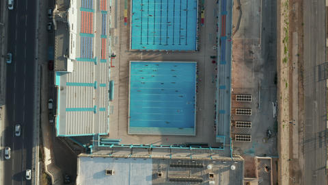 Swimming Pool with Swimmers training doing lanes, Sunshine Live Action