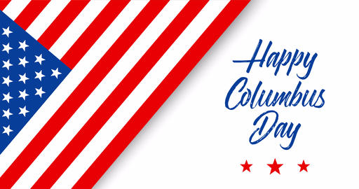 Happy Columbus Day animated greeting card or banner with handwriting text, appearing stars and Animation