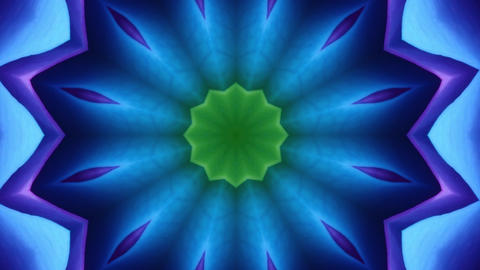 Hypnotic caleidoscope abstract pattern motion background - blue star pattern Live Action
