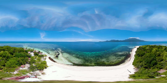 Tropical island with sandy beach 360VR. Mantigue Island, Philippines VR 360° Video