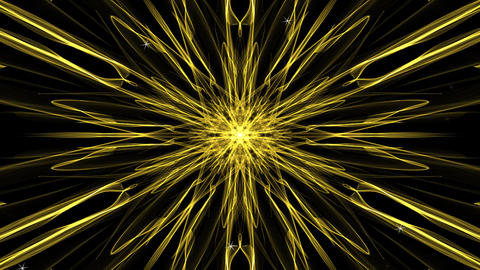 Gold star in fractal style, randomly generating small stars or sparks. Abstract Animation