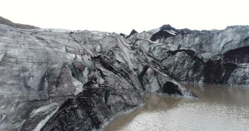 Iceland landscape of glacier Solheimajokull beautiful nature aerial drone video Live Action
