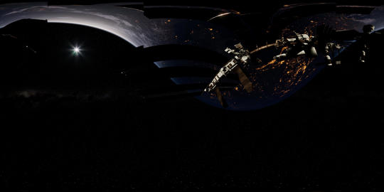 Timelapse ISS in virtual reality 360 degree video. International Space Station Acción en vivo