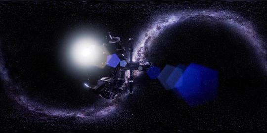 vr 360 futuristic spaceship flying in space with Mily Way Acción en vivo