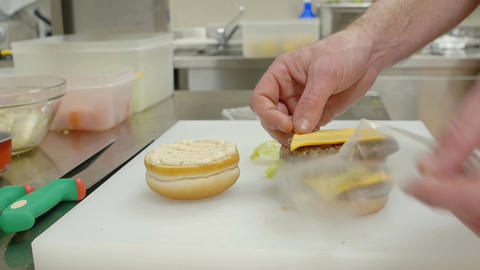 building a cheese burger Footage