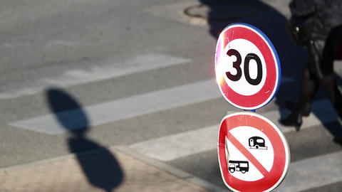 Speed Restriction Road Sign And Pedestrian Crossing Footage