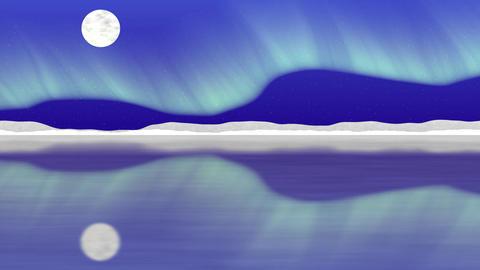 Arctic pole vector landscape with aurora Animation