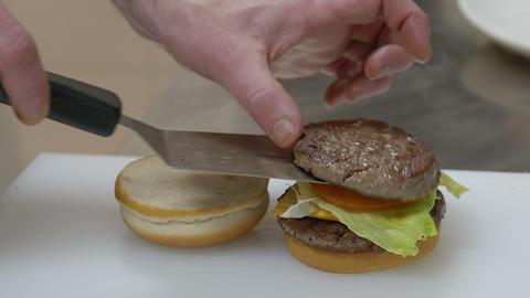 building an hamburger sandwich Footage