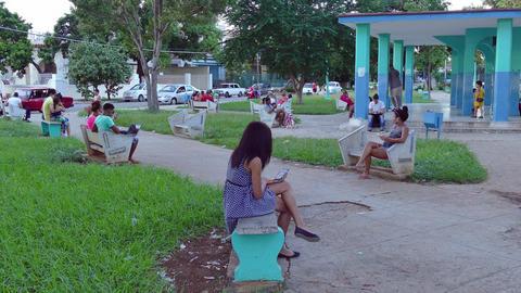 Internet Wireless Technology And People In Cuban Park Havana Cuba Footage
