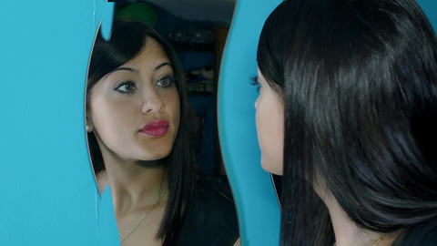 sad woman shows her face in the mirror: sad woman in the mirror Live Action