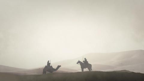 Arabian Warriors in an Arabian Desert Riding Camel and Horse Live Action