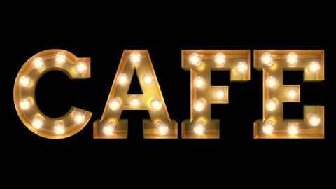 Light bulb letter tow way blinking aktion spelling the word Cafe CG動画