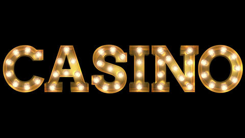 Light bulb letter tow way blinking aktion spelling the word Casino CG動画