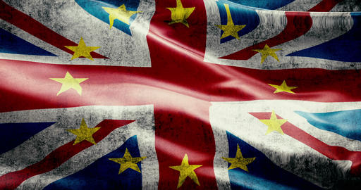 brexit grunge uk england great britain flag with european union EU yellow stars, vote for referendum Live Action