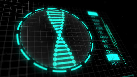 DNA digital analysis on screen in laboratory. DNA results on lab equipment Live Action